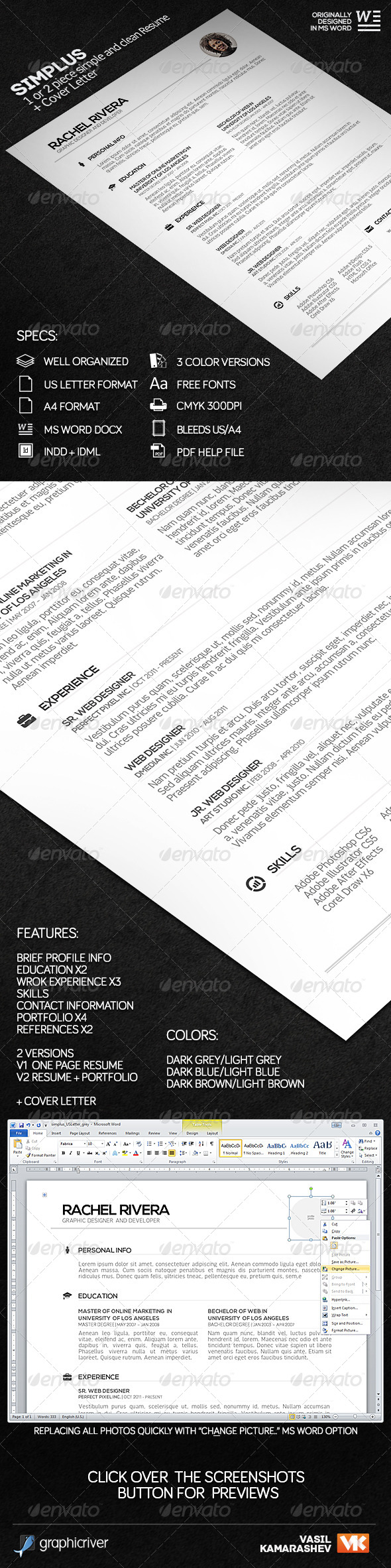 Simplus - 1 or 2 Piece Simple and Clean Resume