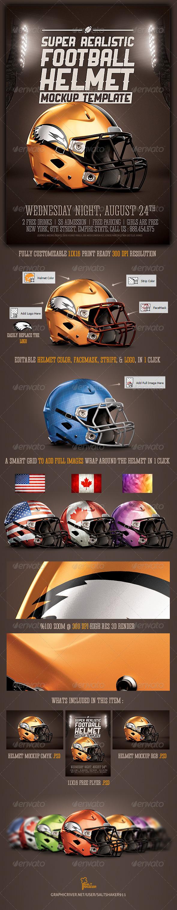 Realistic Football helmet Mockup1